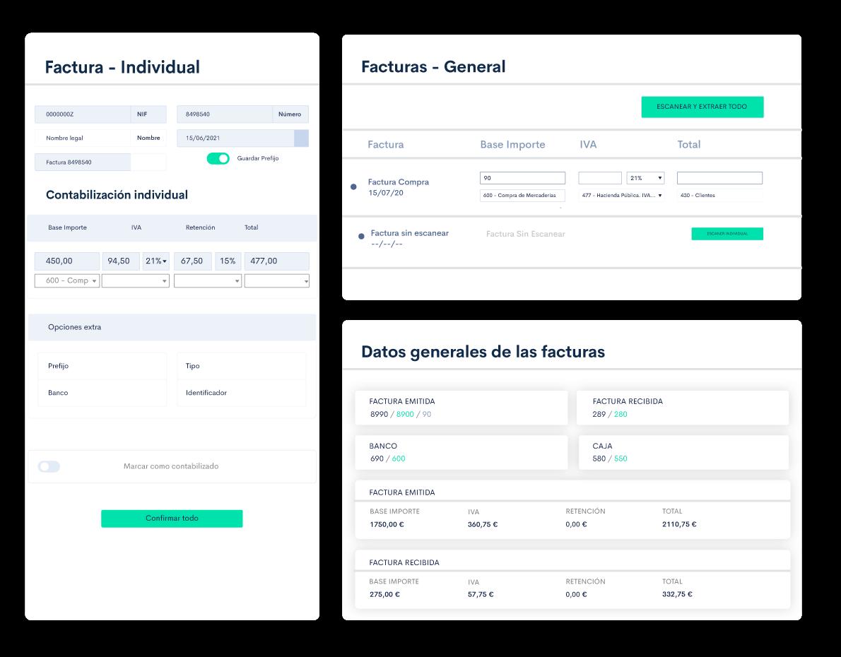 Desde tu portal asesor podrás compartir el trimestre con todos tus clientes. Escanea facturas y realiza contabilidad automática.
