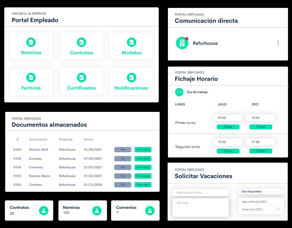 Ofrece un portal del trabajador a cada uno de tus empleados conectado a tu portal empresa con todas las funciones de Bilky.